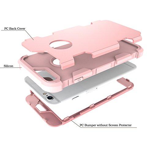 Custodia per Apple iPhone 6 / 6S in Plastica Dura Rigida, Girlyard 3 in 1 Hard PC Ultra Slim Protettiva Posteriore Copertura Bumper Antiurto Antigraffio Case Cover per iPhone 6S / 6 4.7 Disegni Grigi Or Rose Gold