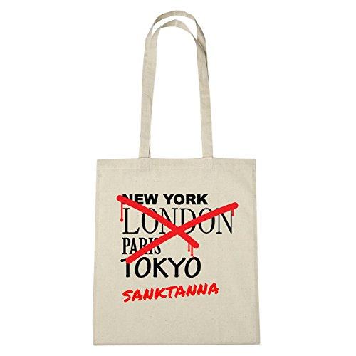 JOllify sceso Tanna Borsa di cotone b4193 schwarz: New York, London, Paris, Tokyo natur: Graffiti Streetart New York