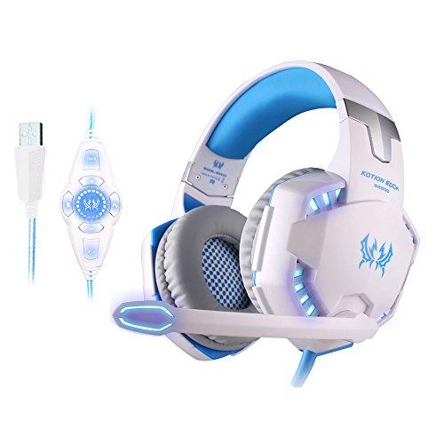 YFQH Kopfband - Vibrations - 7.1 Kanal - Anti-Lärm - Hyun-Light - Subwoofer Gaming Headset,White