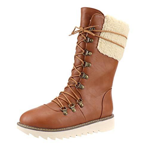 BaZhaHei Damen Stiefeletten Mode Elegante Stiefel Herbst Winter Schuhe Vintage Style Retro Flats Winter Schnürschuhe Mittelrohr Warme Schneeschuhe Große Baumwollschuhe