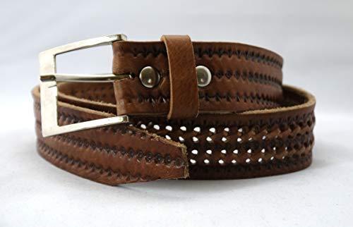 Truly Moroccan Handgefertigt aus echtem Leder Gürtel für Herren in Tan, Braun - hautfarben - Größe: Medium