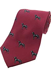 Black Labradors On Wine - Mens Printed 100% Silk Country Tie - Shooting/Hunting
