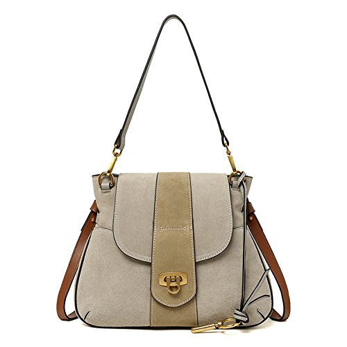 Mefly Vintage Borsette In Pelle Tracolla Messenger Bag Tromba Di Caramello gray