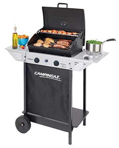Campingaz BBQ Roccia Lavica Xpert 100 LS Plus Rocky Barbecue Grill Compatto 2 Bruciatori e 1 Fornello Laterale 7.1 kW di Potenza 2 Griglie Cromate