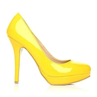 eve stiletto damen pumps gelb pu lackleder high heels. Black Bedroom Furniture Sets. Home Design Ideas