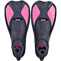Aletas cortas de natación, entrenamiento, diseñadas para mejorar la fuerza de las piernas y la flexibilidad de las tobillos. Para usar en la piscina o en mar abierto, Pink-3, S 38-39
