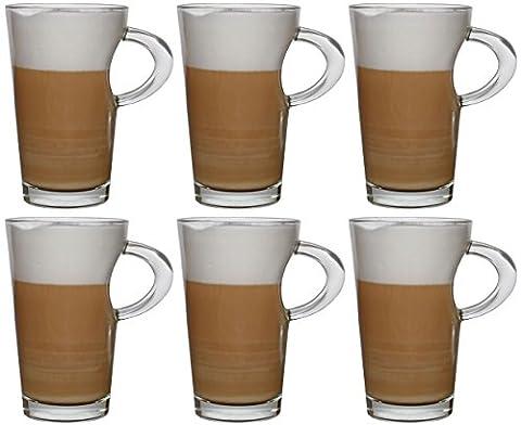 idea-station Wave Cappuccino Design Kaffee-Gläser mit Henkel 6 Stück, 250 ml transparent, Kaffee und Tee Gläser-Set 6-teilig mit Griff als Latte Macchiato Gläser Cappuccino-Gläser Kaffee-Tassen Kaffee-Becher Tee-Tassen Tee-Gläser (Latte Macchiato Tasse)