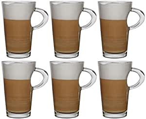 idea station wave cappuccino design kaffee gl ser mit henkel 6 st ck 250 ml transparent kaffee. Black Bedroom Furniture Sets. Home Design Ideas