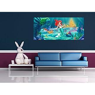 AG Design FTDh 0620  Arielle Disney Prinzessin Meerjungfrau, Papier Fototapete Kinderzimmer - 202x90 cm - 1 Teil, Papier, multicolor, 0,1 x 202 x 90 cm