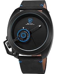 Shark SH448 - Reloj Hombre de Cuarzo, Correa de Cuero Negro