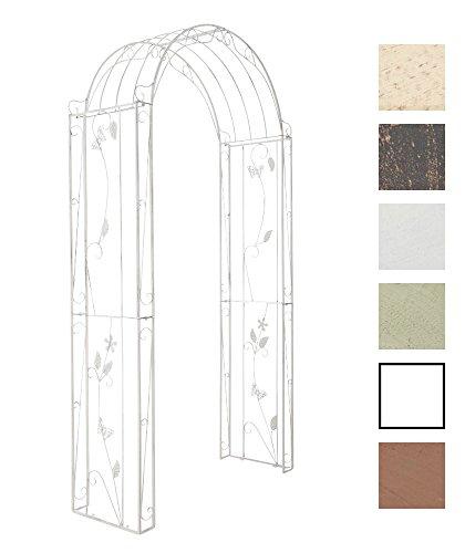 CLP Arche de jardin ornée de métal FLOWERS, Hauteur 238 cm, Largeur 123 cm, Profondeur 45 cm, blanc antique