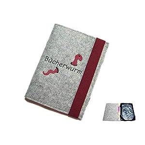 aufklappbare eBook Reader eReader Hülle Bücherwurm inkl. Stickerei, Maßanfertigung z.B. für Tolino Shine 3 Tolino Vision 4HD