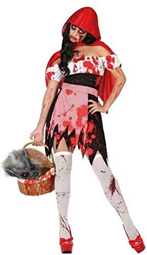 Fairytale Hood Kostüm Für Riding Erwachsene - Damen Kostüm Totes Zombie Little Red Riding Hood Halloween Fairytale Kostüm, Outfit, UK 8-18