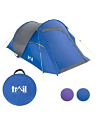 Trail 2 Person Double Skin Pop Up Tent, Easy To Pitch, Small Porch For Storage, 2000mm HH, Shoulder Bag, Perfect For Camping & Festivals