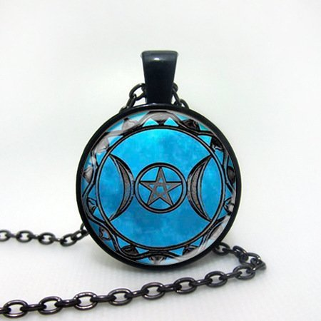 Jewelry Blue Triple Moon Goddess Time Gemstone Pendant Necklace (Black) by NIANPU