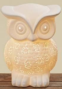 Lampe en forme de chouette blanc h décoration en porcelaine 20 cm