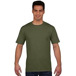 Gildan - Maglietta 100% Cotone - Uomo (L) (Verde militare)