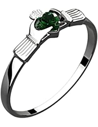 Sterling Silver Irish Claddagh Ring, Green Emerald Cubic Zirconia Stone