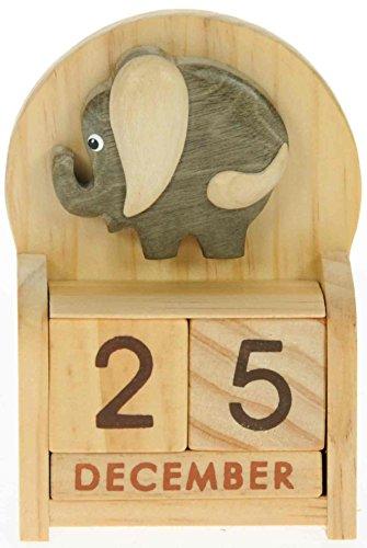 Elefante Calendario Perpetuo: Madera Artesanal: Tamaño 10.5x7x3.5cm: parte superior Idea de Regalo: Regaloe tradicional para niños, Niños, Niños, Niñas, él, ella y adultos divertido amoroso!