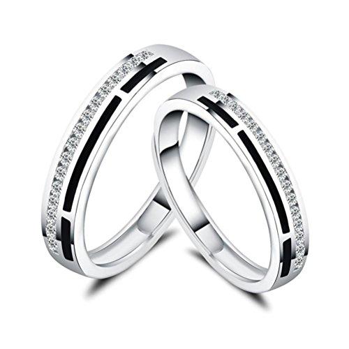 ZPL S925 argento intarsiato coppia anello (misura regolabile)