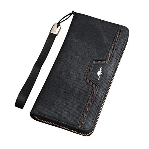 Tefamore Frauen beugen Reißverschluss Coin Purse lange Brieftasche Card Inhaber Handtasche (Schwarz) Schwarz