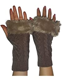 Womens Warm Winter Thermal Knitted Fingerless Gloves with Fluffy Faux Fur