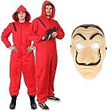 ILOVEFANCYDRESS Costume da RAPINATORE di Banche per Adulti - Tuta Rossa Costume & Maschera Salvador DALÌ della CASA di Carta - Costume TELEVISIVO (Piccolo)