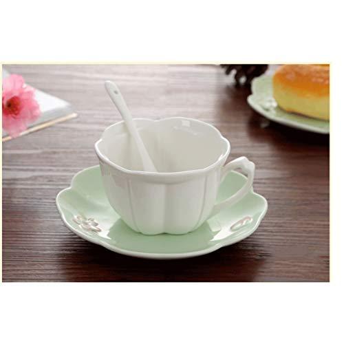 Zhong$chuang Vintage Fine Bone China Teetasse Löffel und Untertasse Set Gold Trim Fine Dining und Tischdekoration (Color : Green) Bone China Gold Trim