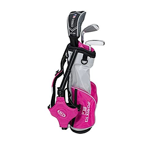 'US Kids Golf Ultralight Series Set 39 Rose Edition, 96 cm – 103 cm, Age 3–5 Years, Golf clubs for Kids, Clubs de Golf pour enfants, Fairway Driver, Iron/Fer 7, Putter, Bag, Maximum Distance And Control, Soft Feel, Lightweight, Stainless Steel