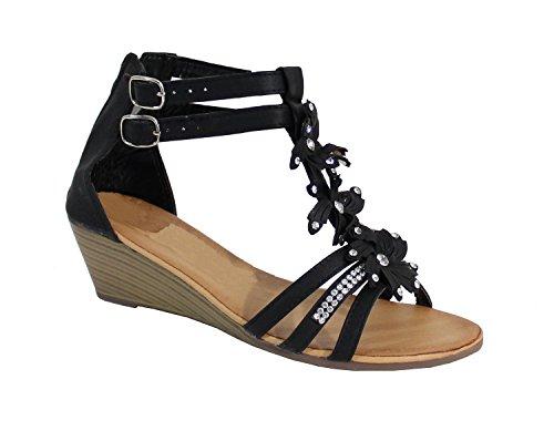 Sandale Style Fleuris - No Name - Spéciale Été - Black - Taille 41