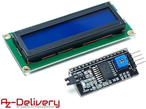 azdelivery hd44780 modulo display lcd 1602 display bundle con interfaccia i2c 2x16 caratteri (sfondo blu) con ebook