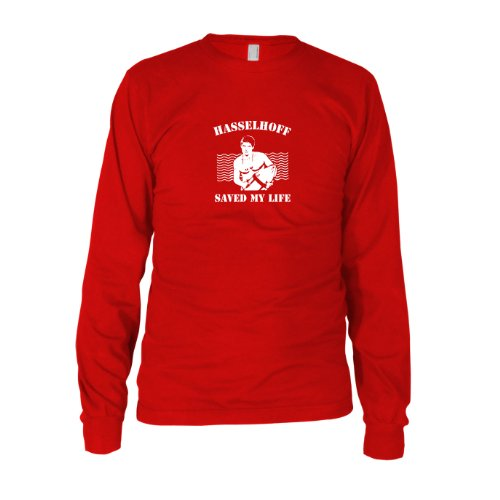 Hasselhoff saved my Life - Herren Langarm T-Shirt, Größe: XXL, Farbe: rot