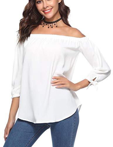Aibrou Camicia Spalle Scoperte Donna Manicotto 3/4 Bluse Elegante Camicetta Spalla T Shirt con Spalla
