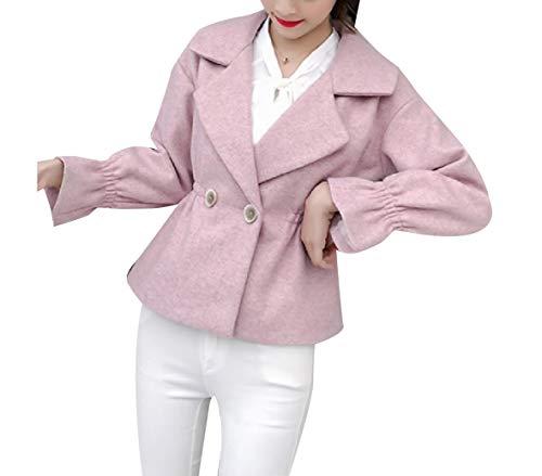 CuteRose Womens Double Button Mini Premium Wool Blends Classy Duffle Coat Pink S (Double Breasted Pea Coat Dress)