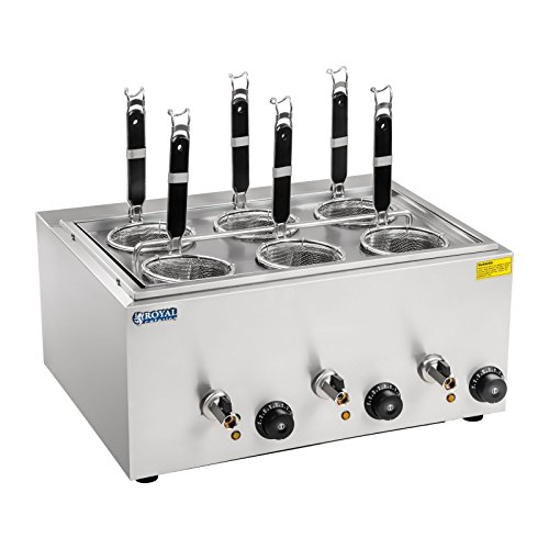 Royal Catering Nudelkocher Pastakocher (4 L, 3 x 1000 W, 30-110 °C, 6 Körbe 14 cm, Ablasshahn, 50,7 x 60,5 x 50 cm, Edelstahl)