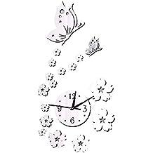 Forepin® Senza Cornice Orologio da Parete Deluxe Autoadesivo della Parete Orologio Vetro Acrilico Specchio Decal Effect Adesivi Murales per Decorazione della Casa e l'ufficio Design Moderno con Motivo Fiori e Farfalle - Argento