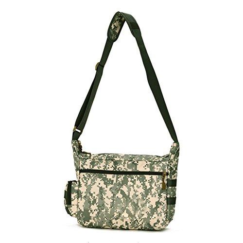 YAAGLE A 4 Schultasche groß Fassungsvermögen Reisetasche wasserdicht Herren IPAD Kuriertasche 14 zoll Laptoptasche Schultertasche Tarnung 1