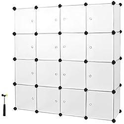 SONGMICS Étagère de Rangement avec 16 Casiers, Armoire Plastique avec Porte modulable, bac Meuble casier Cube, etageres Cubes, Stable, Assemblage Facile, Blanc LPC44BS