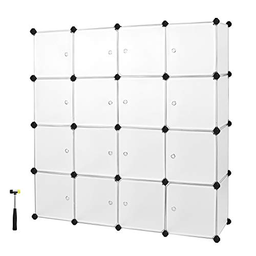 SONGMICS 16 Würfel DIY Regalsystem Kleiderschrank aus Kunststoff mit Türen in modischem Weiß stabil und einfach zu montieren, Steckregal, LPC44BS - Cube Kleiderschrank