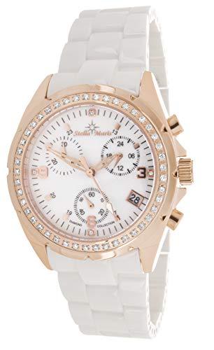 Stella Maris STM15SM15- Reloj Pulsera analógico de Cuarzo para Mujer (con Diamantes), Correa de cerámica Blanco