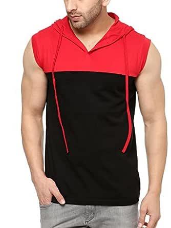 GRITSTONES Men's Cotton Black/Red Hooded Solid Vest