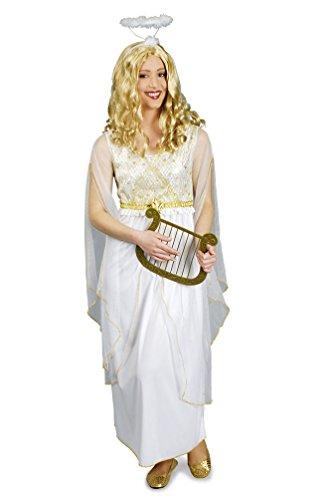 Karneval-Klamotten Engel Kostüm Damen weiß-Gold lang Damenkostüm Kleid mit Sternen Größe 44/46 (Weiß Und Gold Engel Kostüm)