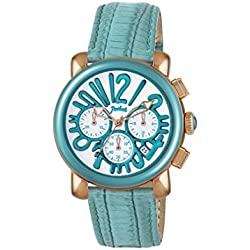 Pocket Women's Quartz Watch with White Dial Chronograph Display and Turquoise Leather Strap PK2054