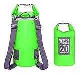 Borsa Impermeabile 10L / 20L Borse Stagna Dry Bag per Rafting Viaggio Kayak Canoa Nuoto Pesca Campeggio Snowboard ect Attività all'Aperto e Sport d'Acqua (Verde 20L)