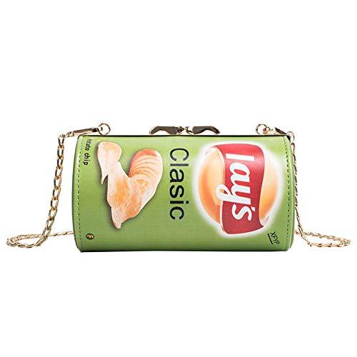 DEAR-JY Umhängetasche, Mode ins Neue Gezeiten Kartoffelchips Tasche Frauen Messenger Drum Bag Lustige kleine Tasche Eimer Ins Super Feuer Paket Kette Zylinder Handtasche,Green