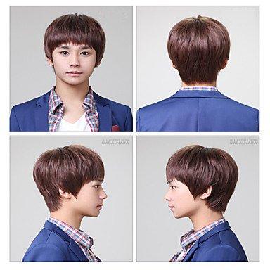 HJL-male Haare kurz curl realistisch Nichtmainstream Perücke flauschigen schöner Mann geneigt Knall Perücke Großhandel , dark auburn