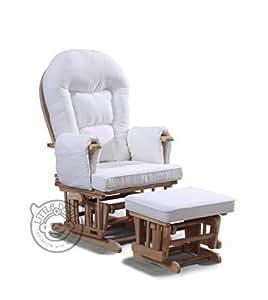 Sedia a dondolo reclinabile per gravidanza/allattamento con poggiapiedi e telo protettivo, colore: bianco