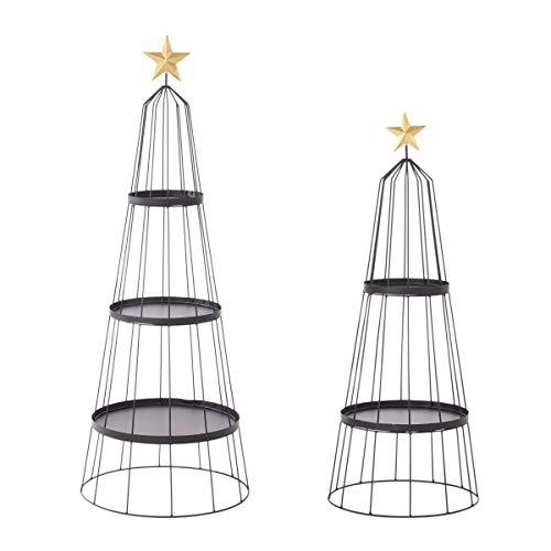 Pureday Weihnachtsdeko - Weihnachtsbaum Präsentation - Deko-Regal - Metall - Schwarz Gold
