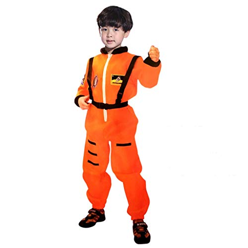 wuayi Kinder Jungen Overall Rollenspiel Astronaut Spaceman Cosplay Flug-Raumanzug Kostüm - Herren Orange Astronaut Kostüm