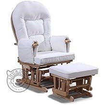 Fauteuil Maternité Allaitement Rocking Couleur Blanc Avec+ Finition bois naturel avec repose-pied assorti Planeur chaise